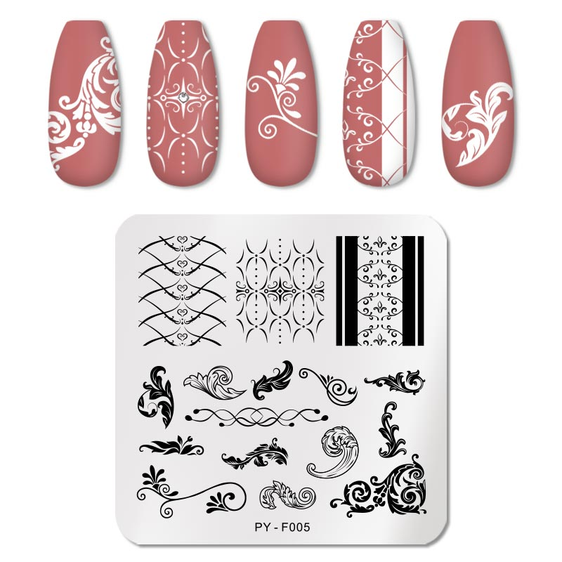 PICT YOU 12*6cm Nail Art Templates Stamping Plate Design Flower Animal Glass Temperature Lace Stamp Templates Plates Image 82