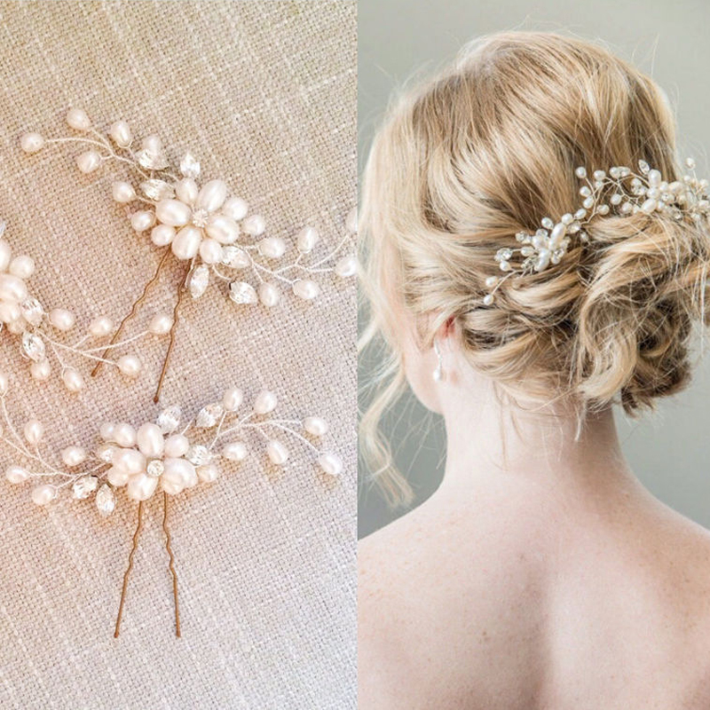 Women Vintage Bridal Wedding Prom Pearl Hair Pins Accessories Flower Beaded Crystal Barrette Hairpins Clips Stick Hair Jewelry