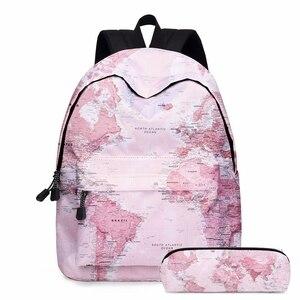 World Map Printed Primary Junior High School Bag for Girls Children Kids Bookbag Backpack New 2020 Back to School Girl Gift
