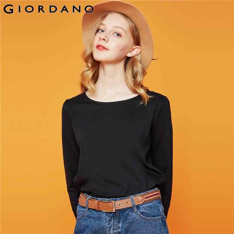 Giordano Mulheres T-Shirt Crewneck Manga Comprida Camiseta Femme Algodão Dividir Hem Casual Camisa Macia T Poleras Mujer de Moda 05329784