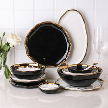 Creative Phnom Penh Ceramic Tableware Bowl Plate Household Rice Bowl Salad Bowl Vegetable Plate Shallow Plate Flavored Plate