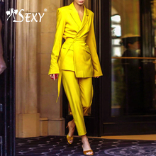 Gosexy 2019 New Lady Two Piece Sets Turn Down Collar Full Sleeve Long Pant WIth