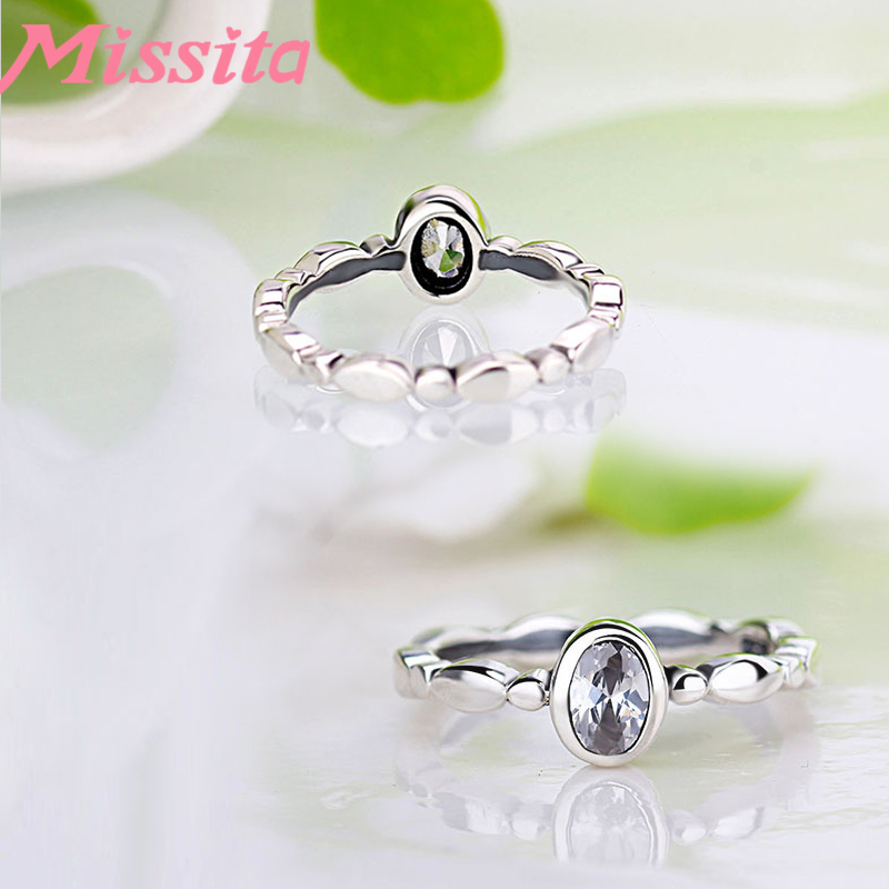 MISSITA 925 Sterling Silver Rings for Women Silver Jewelry Oval CZ Crystal Brand Ring Wedding Anniversary Gift in Engagement Rings from Jewelry Accessories
