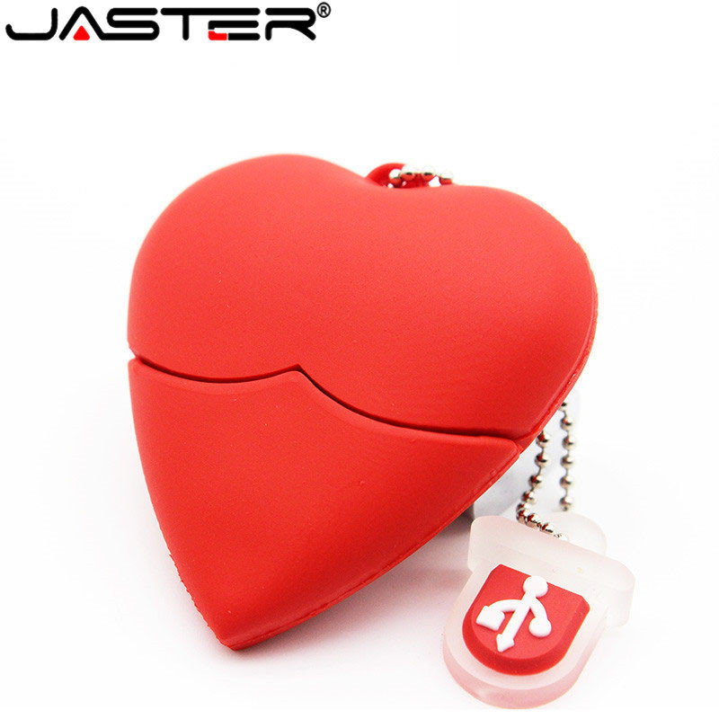 Hot Sale Red Heart USB Flash Drive Plastic PenDrive 4GB 8GB 16GB 32GB 64GB USB Stick PenDriver USB Flash Drive Thumb Drive Neckl