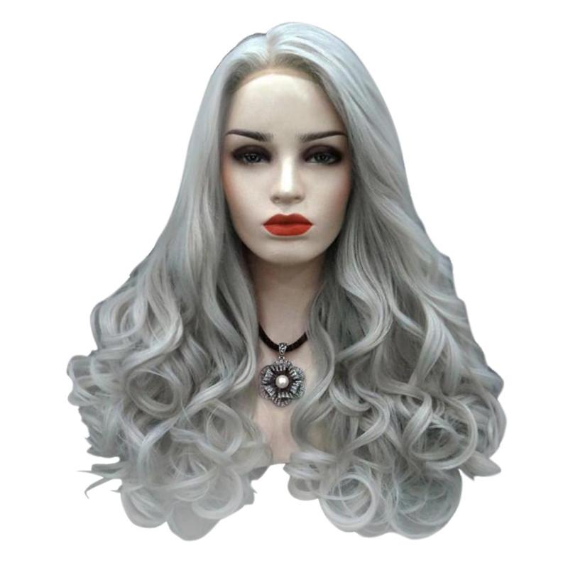 Long Wave Curly Wig Women Black Grey High Temperature Fiber Wigs Synthetic Hair For Women Wavy Cosplay Hair Wig