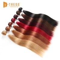 Pre Colored Human Hair Bundles 8 26inch X TRESS 99J/Burgundy Red Straight Brazilian Hair Weaves Non Remy Bundle Hair Weaving