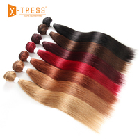 Pre Colored Human Hair Bundles 8 26inch X TRESS 99J/Burgundy Red Straight Brazilian Hair Weaves Non Remy Bundle Hair Weaving