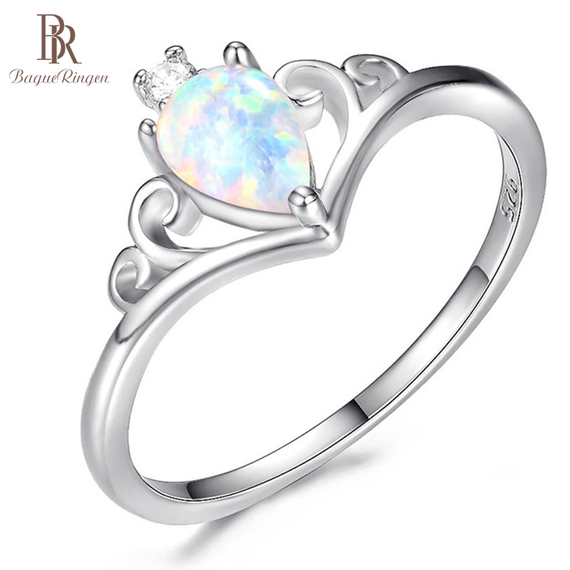 Bague Ringen Hot-selling Women's Silver 925 Jewelry Water Drop Opal Crown Gemstone Ring Weddings Engagement Valentine's Gift