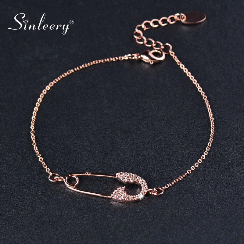 SINLEERY Shiny Pin Shape Charm Bracelet Rose Gold Silver Color Chain Tiny Crystal Friendship Bracelet Women Jewelry SL032 SSB