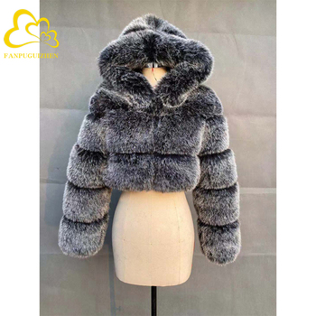 Winter Warm Fluffy Faux Fur Coats Jackets Women High Quality Fake Fur Cropped Jackets with Hooded Winter Fur Jacket children clothing 2018 winter boys jackets girls fur coats parkas warm kids faux fur jackets baby boy thicken warm hooded coats