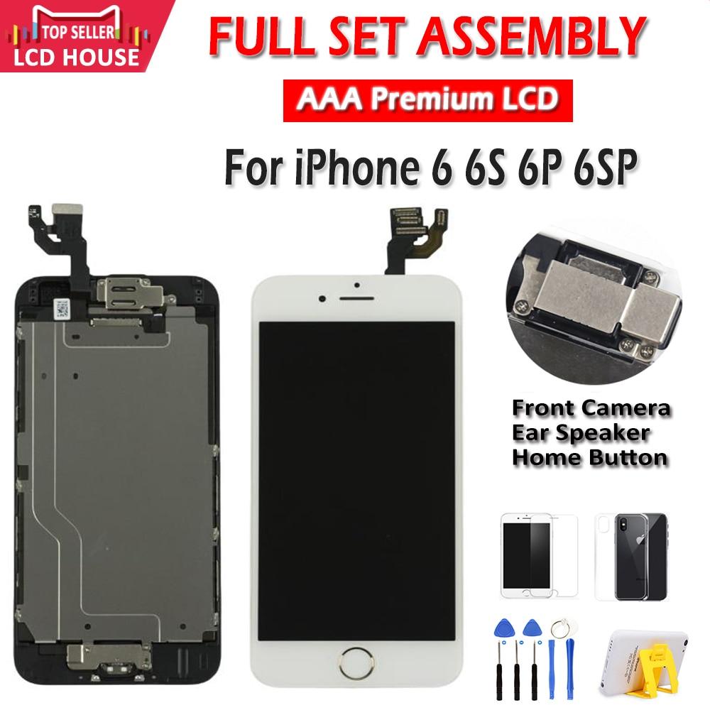 Aaa de nível de lcd para iphone 6 6s plus, conjunto completo de montagem completa 100%, toque de força 3d para iphone 6 tela de substituição p 6sp