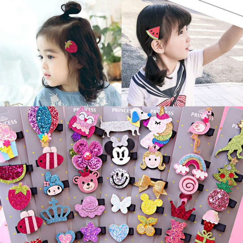 5pcs/set Unicorn Sequins Hairpins Hair Clips For Girls Hair Accessories Set Bow Animal Fruit Barretes Children's Hairgrips
