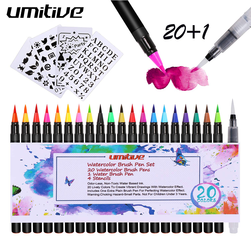 Umitive 20 Colours Watercolour Brush Pen Set With 1 Refillable Blending Water Brush Pen Soft Flexible Tip For Adult Coloring