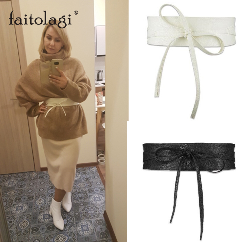 Fashion Women Corset Belt Spring Autumn Wide Ladies Belts For Dresses Pu Leather Self Ties Bow Black White Female Waist Belts