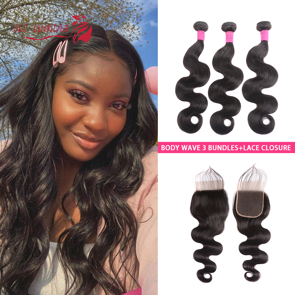 Body Wave Bundles With Closure Brazilian Hair Weave Bundles With Lace Closure Remy Virgin Hair Bundles With Closure