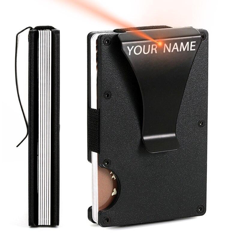 2020 Customized Credit Card Holder RFID Blocking Metal Men Wallet Purse Male Business Cardholder Carteira Masculina Billetera 1