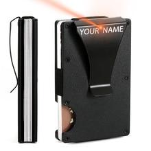 2020 Customized Credit Card Holder RFID Blocking Metal Men Wallet Purse Male Business Cardholder Carteira Masculina Billetera