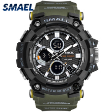 Mens Watch Military Water resistant SMAEL Casual Sport LED Wrist Watches relogio digital for male 1802D relogio masculino Watch cheap Plastic 22cm 5Bar Buckle ROUND 22mm 19mm Acrylic Stop Watch Shock Resistant LED display luminous Auto Date Complete Calendar