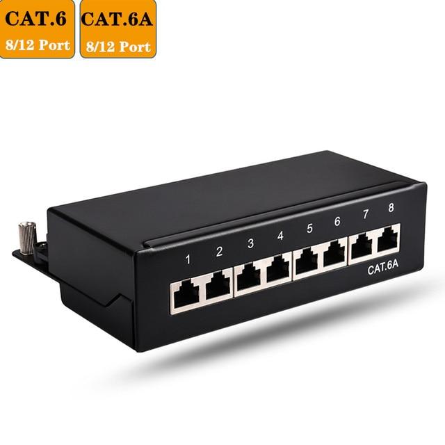 RJ45 Cat6 Cat6A Network Adapter Full Shielded Patch Panel 8/12 Port Mini Desktop Wall Mounted Keystone Jack Network Module
