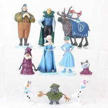 10 stuks Disney Prinses Speelgoed Kristoff Sven Olaf Frozen Verjaardag 9cm PVC Action Figures Kinderen Speelgoed voor Kinderen Kerst gift D40B