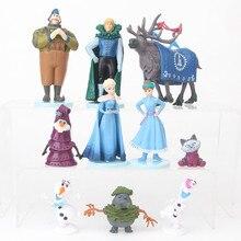 10pcs 디즈니 공주 장난감 kristoff sven olaf 냉동 생일 9cm pvc 액션 피규어 어린이 장난감 크리스마스 선물 d40b