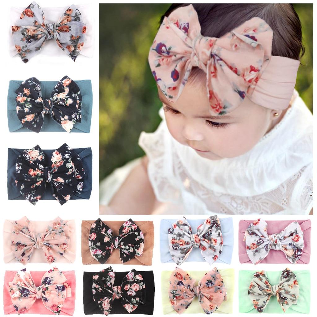 New Bohemia Elastic Printed Flower Kids Headband Newborn Infant Knot Bows Headwraps Baby Girls Headwear Cute Gifts Photo Props