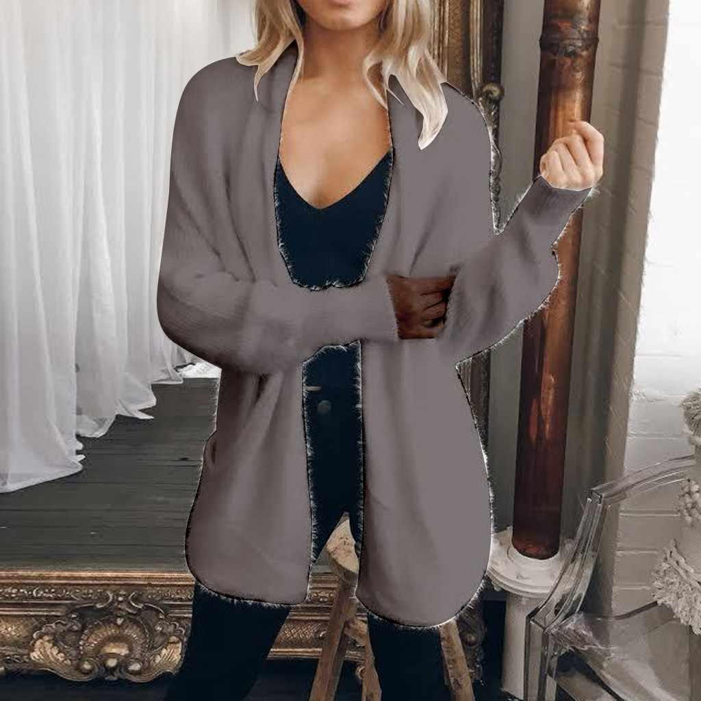 Lungo delle donne Più Il Formato del Maglione Del Cardigan di Colore Solido Manica Lunga casual Bianco Cappotto di Autunno Ha Lavorato A Maglia Tasche Cardigan Sciolto