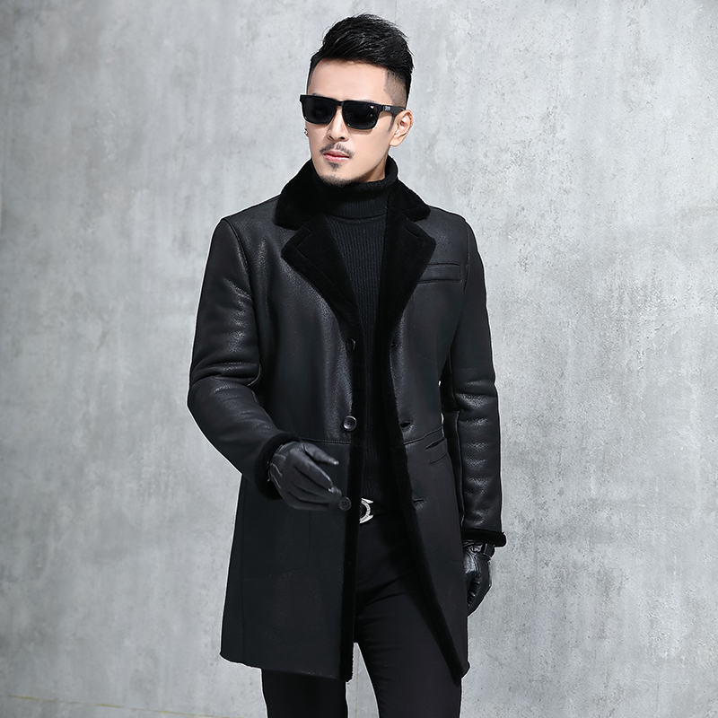 Genuine Leather Jacket Men Sheep Shearing Winter Coat Men Sheepskin Mens Real Leather Jacket Casaco MA8201SY701 YY1130