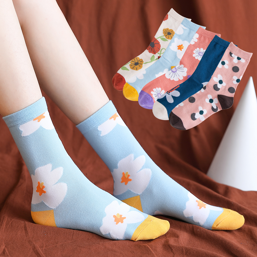 Женские хлопковые носки Salina, зимние, весенние, новогодние носки разных цветов с художественным цветочным узором, удобные спортивные модные носки для отдыха|Носки| | АлиЭкспресс