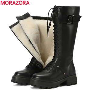 MORAZORA Full genuine leather motorcycle boots zip platform knee high boots nature wool warm winter snow boots women shoes