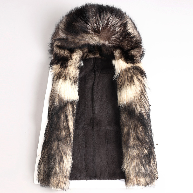 2020 Parka Real Fur Coat Men Winter Long Jacket Natural Wolf Fur Collar Rabbit Fur Liner Warm Parkas Hombre 4674 KJ3019