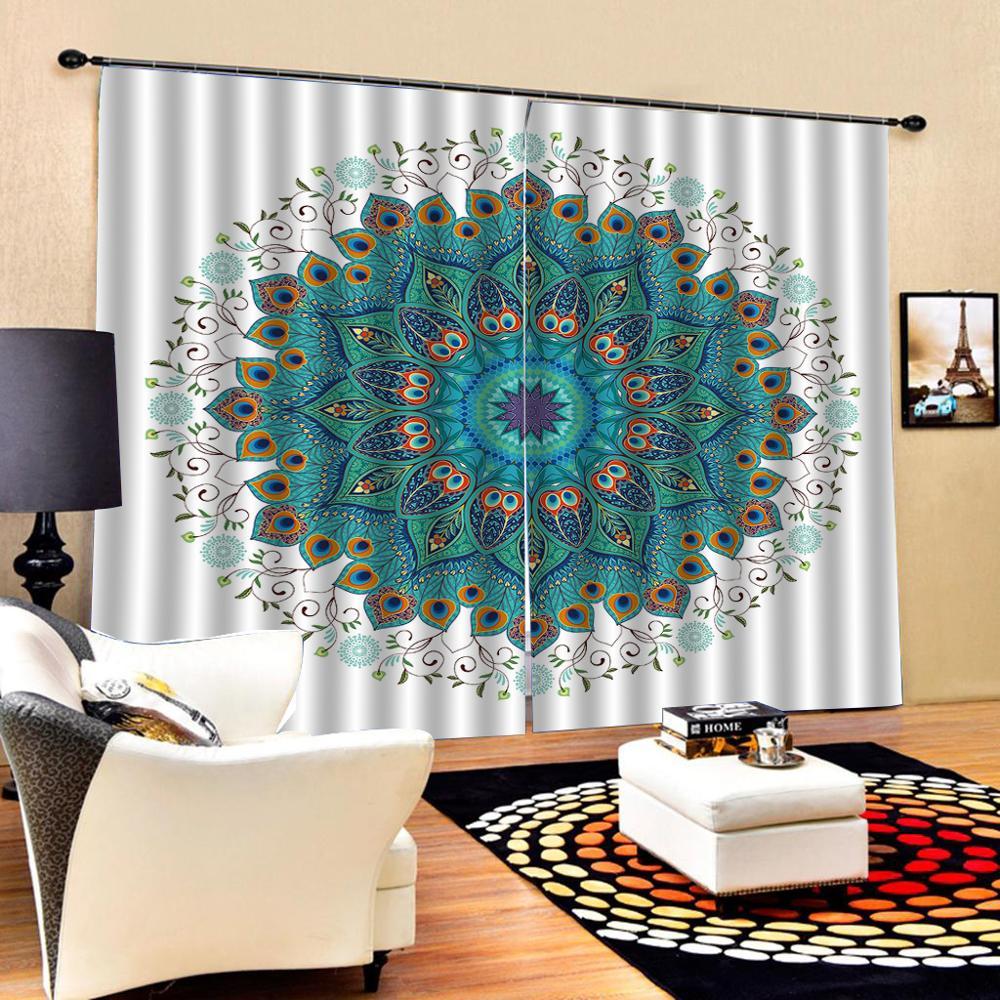 High quality custom 3d curtain fabric blue curtains 3D Curtain Luxury Blackout Window Curtain Living Room