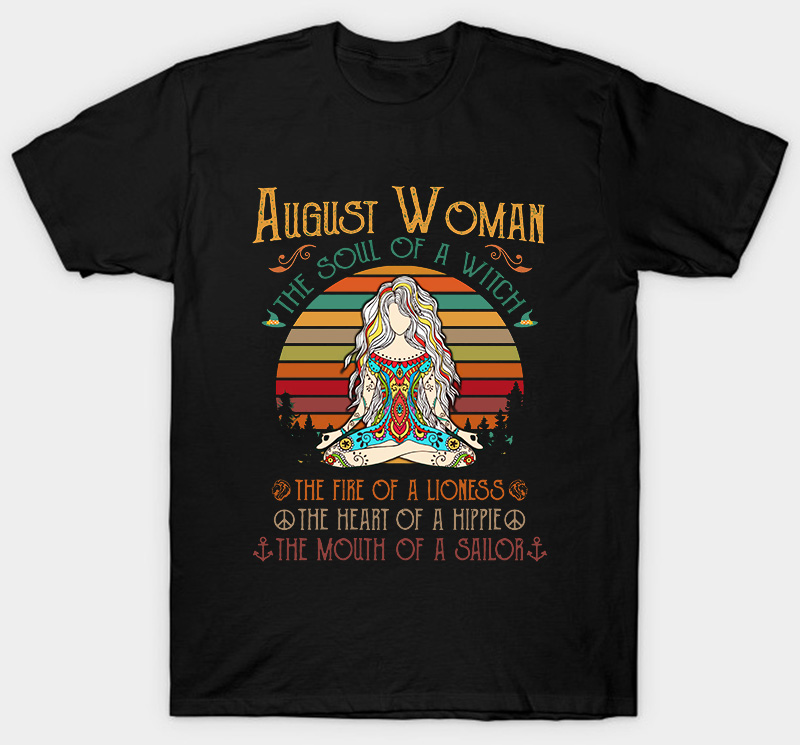 August Woman The Soul Of A Witch The Fire Of A Lioness Vintage T-Shirt Men S-6Xl