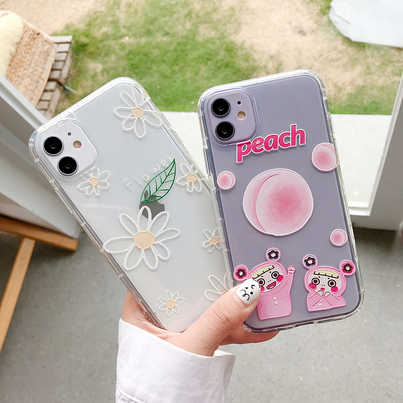 Cute Flower Peach Phone Case For Huawei P20 Lite P30 P40 Pro Nova 3 4 5 6 5T Y9 2019 Mate 20 30 For Honor 8X 20 Soft Back Cover