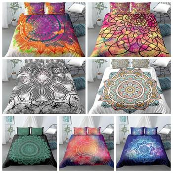 Bohemian Bedding Set Mandala Duvet Cover Set Romantic Soft Bedclothes Boho Style flowers bed set Cover Bed Linen Euro King Queen bedding set полутораспальный сайлид red flowers