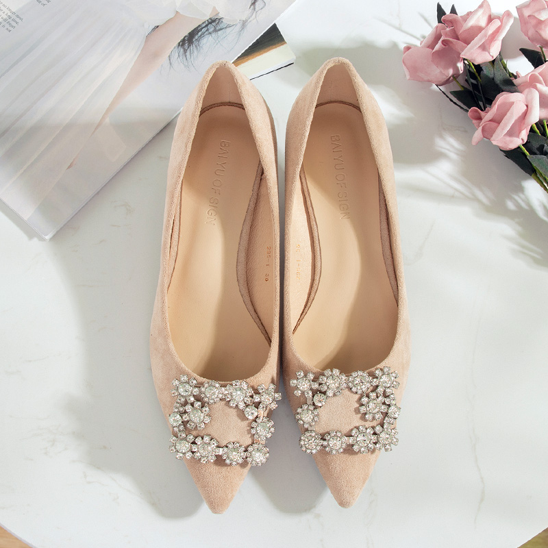 Image 5 - 2020 靴の女性 3.5 センチメートルハイヒールの女性クリスタルバックルラインストーンフロックポイントオープントゥパーティサンダルオフィスの女性のドレスポンププラスサイズレディースパンプス   -