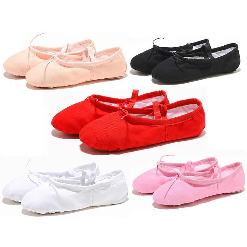 USHINE Canvas Cloth Head Indoor Exercising Shoes Pink Yoga Practice Slippers Gym Children Ballet Dance Shoes Girls Woman Kids