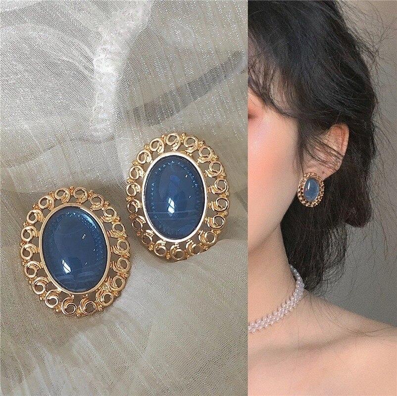 2021 Новинка в винтажном стиле, в стиле барокко серьги синие стеклянные смолы геометрический Овальный полый из золотистого металла серьги-гв...