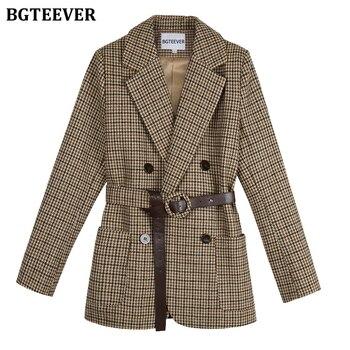 BGTEEVER Vintage Houndstooth Women Blazer Sashes Double-breasted Plaid Female Suit Jacket Long Sleeve Pockets blaser femme 2020 1