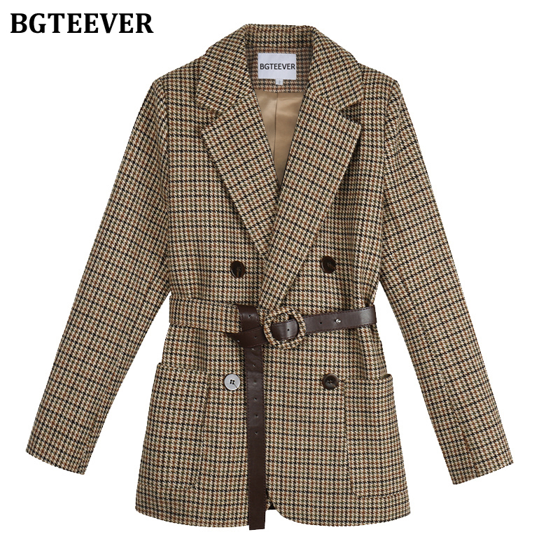 BGTEEVER Vintage Houndstooth Women Blazer Sashes Double-breasted Plaid Female Suit Jacket Long Sleeve Pockets Blaser Femme 2020