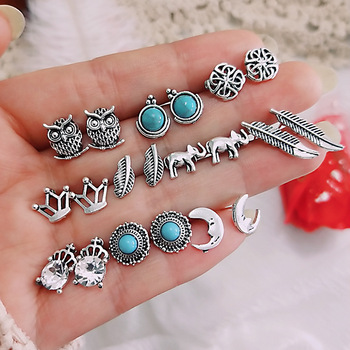 10pair/set Vintage Small Stud Earrings For Women Owl Elephant Crown Leaves Moon Stone Earring Fashion Jewelry Gift