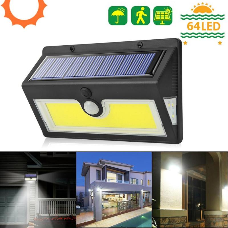 3 Working Modes 64 COB LEDs Solar LED Wall Light Motion Sensor Outdoor Courtyard Garden IP65 Security Wall Lamp Flood Lights