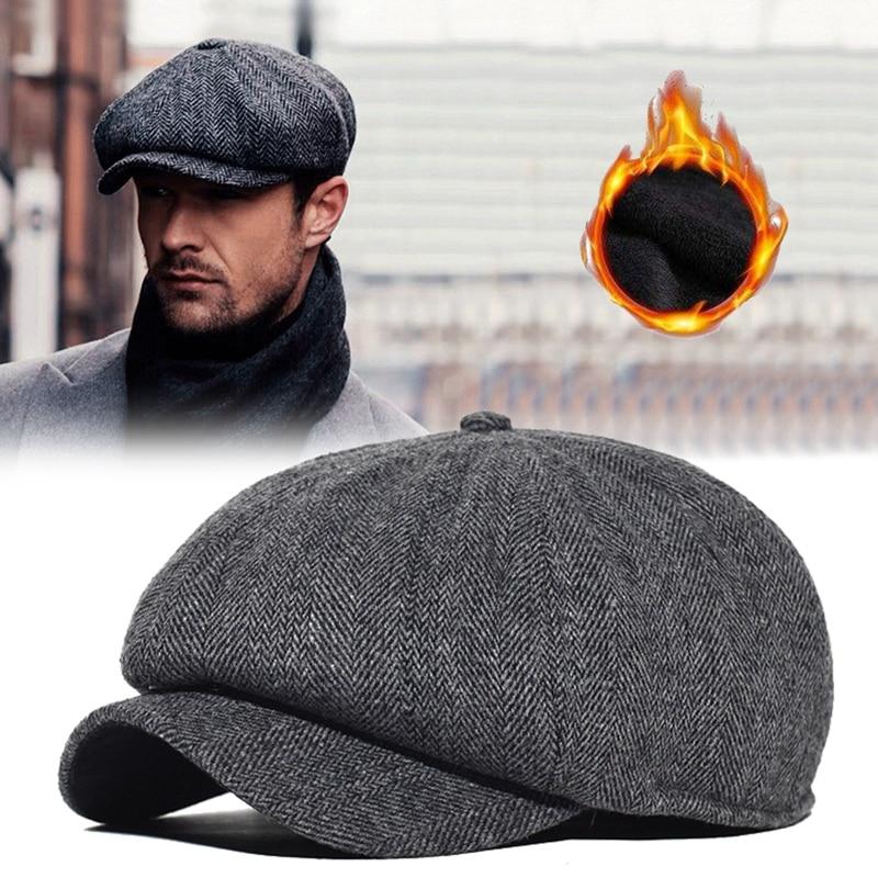 Men Newsboy Cap Winter Thick Vintage Herringbone Octagon Cap Women Casual Stripe Berets Gatsby Flat Hat