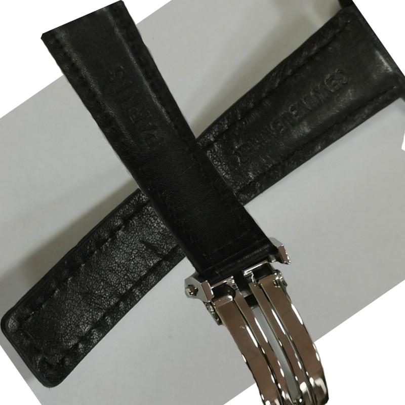 Brand Watchband Parnis Watch Strap 22mm Genuine Leather Black Deployment Bucket Watch Accessories Parts Men's Women's Watchbands