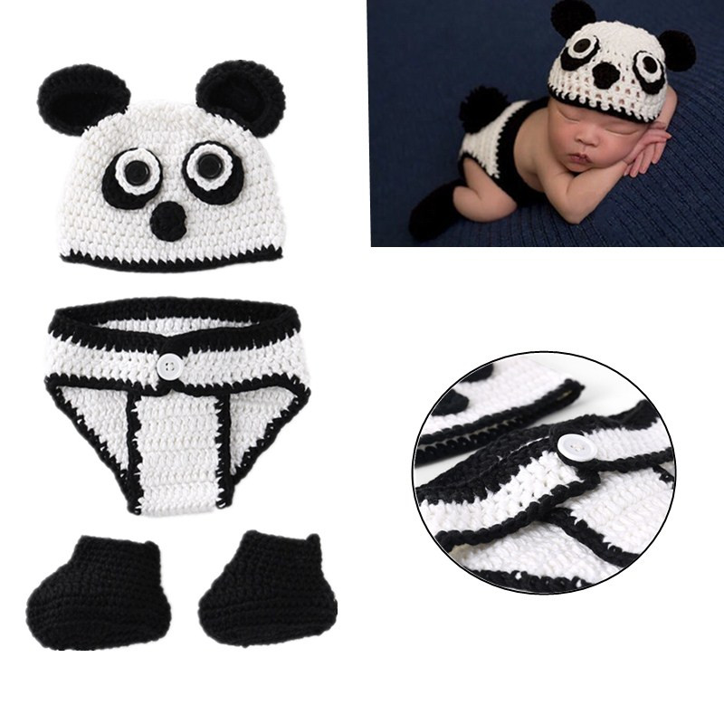 DIY Photo Shoot Props New Panda Clothes Newborn Photography Props Baby Infant Crochet Knitted Clothing Set Costume Outfits
