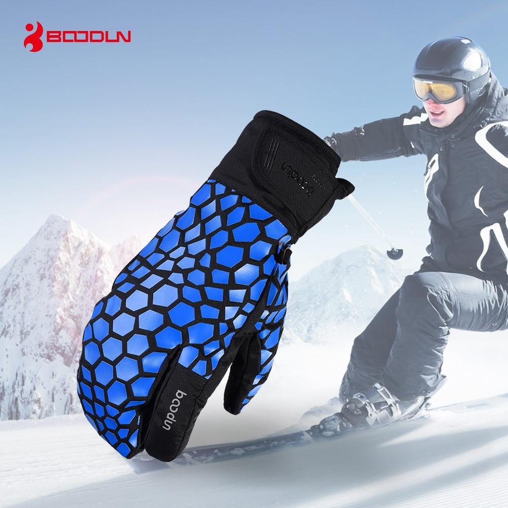Winter Thicken 3 Fingers Touch Screen Ski Gloves Warm Snowboard Skiing Gloves Ani-slip Waterproof Mittens For Men Women Children