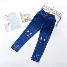 Джинсы для девочек штаны с вышивкой в виде мультяшного кота