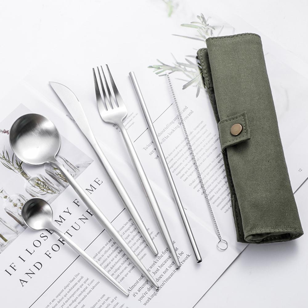 6 in 1 Portable Utensils Fork Spoon Knife Straw Stainless Steel Outdoor Camping Hiking Traveling Tableware Set with Bags