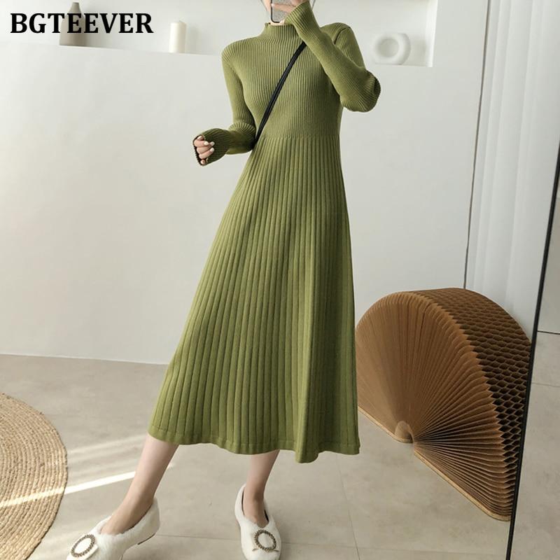 Платье Свитер BGTEEVER женское трикотажное, Элегантный Теплый трапециевидный свитер с высоким воротником, длинный рукав, узкая талия, до середины икры, осень|Платья| | АлиЭкспресс