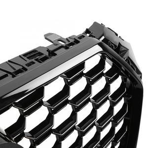 Image 5 - 아우디 A4/S4 B9 RS4 스타일 2017 2018 전면 스포츠 육각 메쉬 벌집 후드 그릴 광택 블랙 고품질 자동차 액세서리